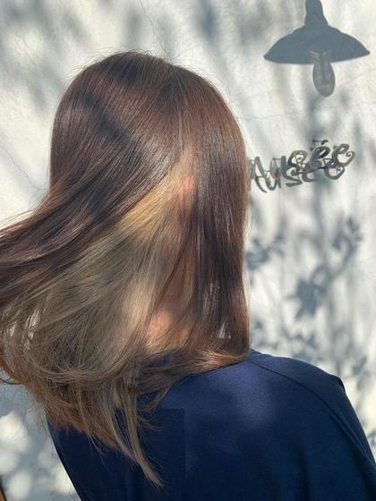 インナーブリーチからのオンカラーで縛った時に出るのがいい感じ😄 Hair Musee井田店所属・神谷駿太のスタイル