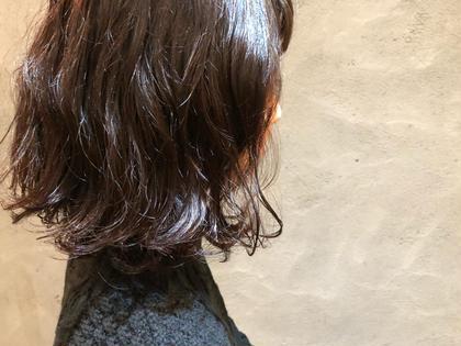 ミディアム 黒髪パーマ♡