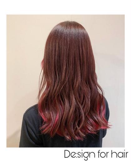 【イルミナorアディクシーカラー】↑イルミナ使用  イルミナカラーの新色、ブロッサム インナハイライトのピンク🎀 De:sign for Hair所属・いしざきのぞみのスタイル