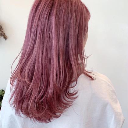 カラー セミロング ホワイトピンク