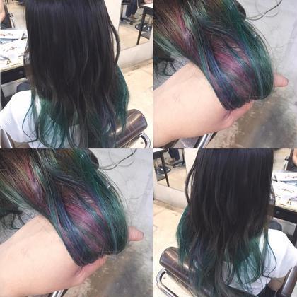 ダークユニコーンカラー🦄  夏はやっぱり派手髪😘