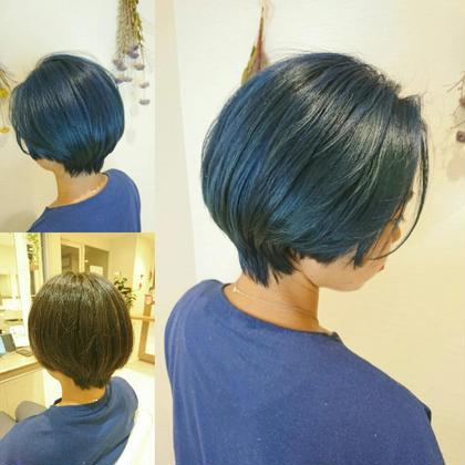 一度ブリーチしてからイルミナカラーの新色【ディープシー】で鮮やかな青に!
