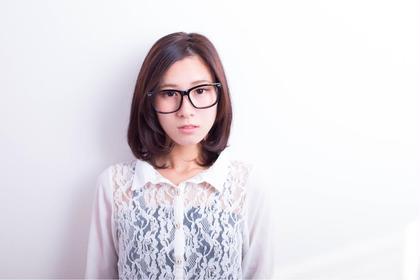 メガネ × シンプルボブの知的女子スタイル♪ レシェルブ所属・佐々木規史のスタイル