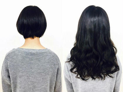 【長さ】胸が隠れる長さ シールエクステ90枚 ショートボブの方でもご安心下さい(^^) あるじゃんすー横浜店のロングのヘアスタイル