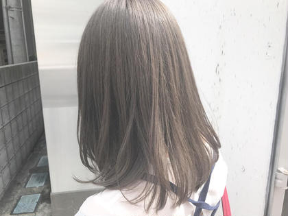 カラー ミディアム 透け感バッチリ! グレージュカラー!!