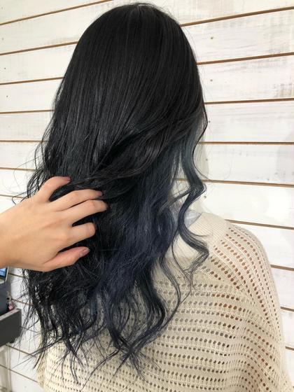 カラー ネイル ミディアム マーメイドブルー マーメイドカラー インナーカラー ネイビーブルー 【渋谷】