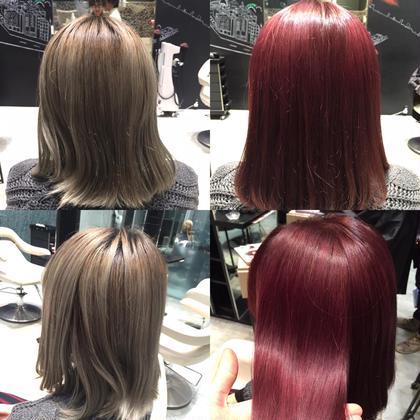 その他 カラー ショート セミロング ミディアム ロング ビフォー&アフター☆  ワインレッド