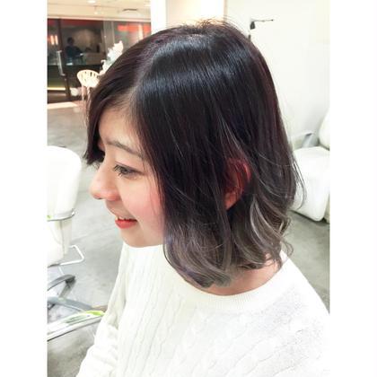 ブリーチ2回の柔らかい質感のパープルグラデーションカラー hairmake newyork 根津店所属・オオツカヨシタカのスタイル