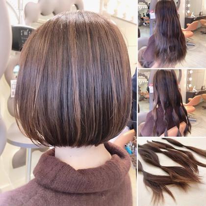 その他 カラー ショート パーマ 【ヘアドネーション】 出産前のヘアドネーショ増えてます。 産後はホルモンの影響もあり、髪質も変わりやすく大量の脱毛をしてしまうケースもありますので、出産前の綺麗な状態でのヘアドネーショに注目が集まっています。ロングよりシャンプーやドライに時間がかからず、スタイリングも楽で簡単!!というメリットもあります。