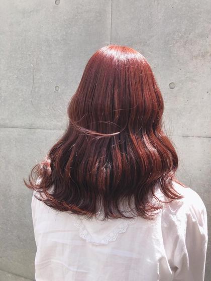 カラー ヘアアレンジ ミディアム ピンクColor♡