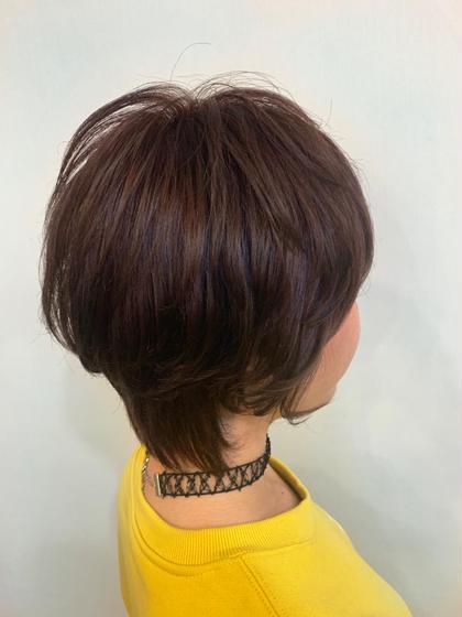 カラー ショート ノンブリーチwcolor / pink  brown / aujua✂︎ ベース.ブリーチ3回.ほぼ黒染め