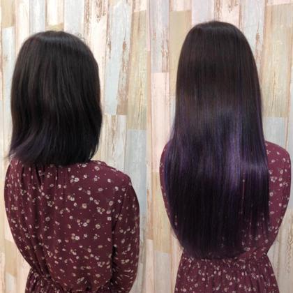 黒髪ベースに青紫のメッシュを表面や内側に細く入れました☆  アプリ登録のお客様は仕上げの巻き髪無料サービス♪