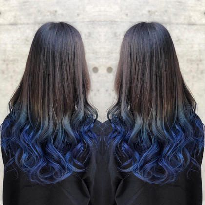 その他 カラー ロング ブリーチ後マニキュアでブルー髪にしました😊