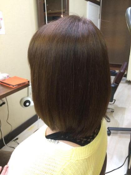 艶髪縮毛矯正(^-^)/ ホームカラーとパーマがかかっていたので大変でした(*_*) PourVous所属・星龍太郎のスタイル