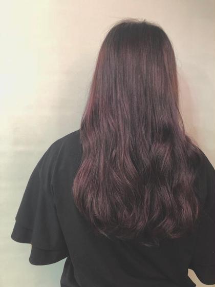 その他 カラー ロング とても綺麗に紫が入りました!😊 とっても綺麗なグラデーションなので抜けた時も綺麗に抜けます😆🌈本当に普通のブリーチとは違い痛みが最小限です🌼