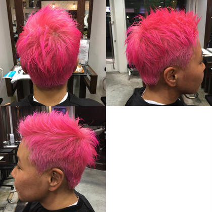 とてもお洒落なお客様 ダブルカラーでド派手な原色ピンクに! 大人カラーも流行りのカラーもド派手カラーも、どんなカラーでも全力で施術させて頂きます Ark+ing所属・近江咲紀のスタイル