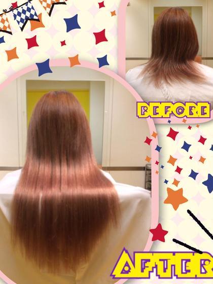 潤♡艶♡サラ♡ロングヘアー  赤味があって暖かみのあるお色で柔らかく可愛らしいい印象に! バランス良く綺麗に馴染み取り付けできました(^O^)/  メニュー:レミー編み込み50本 DuoHair心斎橋店のロングのヘアスタイル