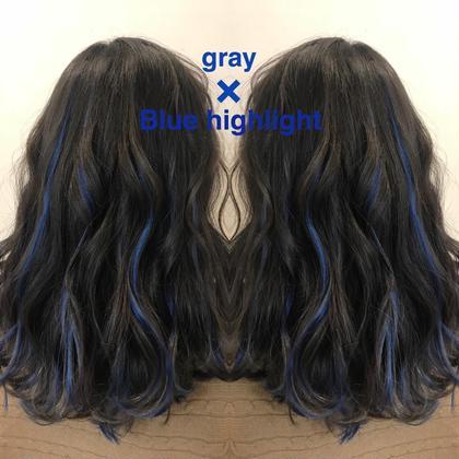 暗めのグレーでブルーのハイライトエクステ!!