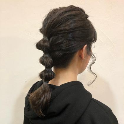 カットモデル後には、簡単アレンジも教えます❤︎   ヘアーミュゼ井田店所属・三浦紗希のスタイル