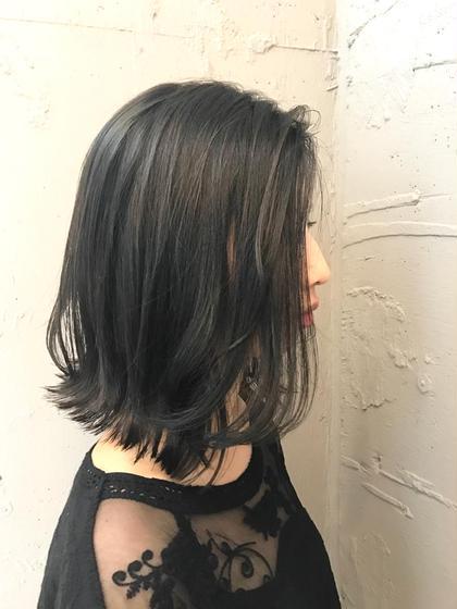 切りっぱなし✖︎ダークアッシュ 寺坂雄飛topstylistのミディアムのヘアスタイル