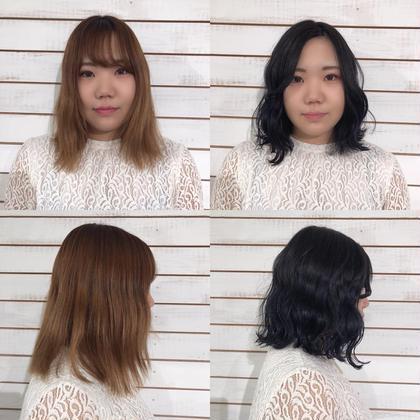 カラー ショート ヘアアレンジ ネイビーカラー ボブ 前髪エクステ ♡