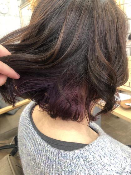 インナーカラーで内側に濃いめの紫を入れました💜💜 カノエ 松江学園店所属・藤平一恵のスタイル
