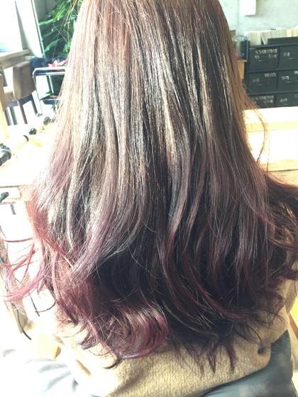グラデーションカラーです! 毛先はピンクバイオレットで春らしい可愛い色になってます☆   anou  アノー所属・北野輝のスタイル