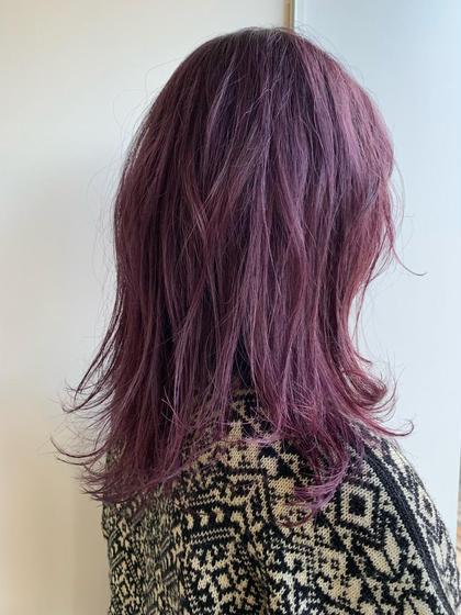 カラー 人気のピンクパープル 濃いめに入れると色落ちがピンクっぽくて 長く楽しめます🌟 冬にオススメ