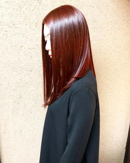 その他 カラー キッズ セミロング ネイル パーマ ヘアアレンジ マツエク・マツパ メンズ イルミナで赤作りました!  トリートメントもしています