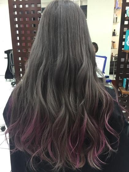 カラー ロング グレーカラーとピンクのハイライト