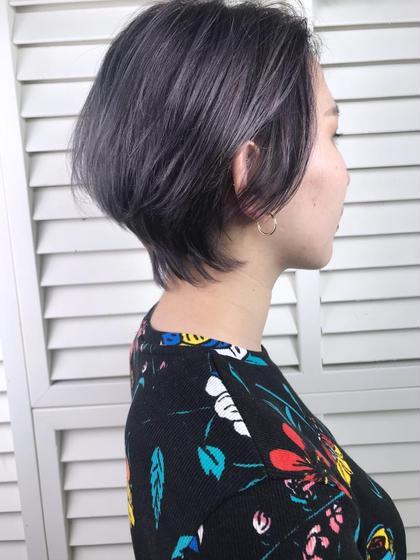 その他 カラー ショート パーマ ヘアアレンジ Real  salon work✂︎ 【 short / purple gray 】 . メリハリのあるshort hairに bleach on color ✯ . パープルに透けるグレーは 退色もキレイ✧ . . . #NAKAIstyle #ショートヘア#ブリーチ#パープルグレー