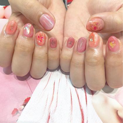ネイル 春らしいピンクと赤のニュアンス♡ありがとうございました!