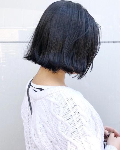 ネイビー切りっぱなしボブ CHIC(シック)表参道所属・北谷光二郎のスタイル
