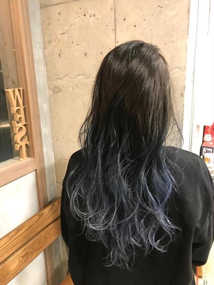 カラー ロング silver blue gradation★