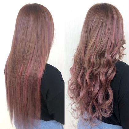 ☆シールエクステ70枚☆可愛いらしいPink系♪シールエクステでも赤・Pink系のご用意ありますよ☆メッシュも入ってるので巻いた時がとても可愛いです!  アプリ登録のお客様は仕上げの巻き髪無料サービス♪