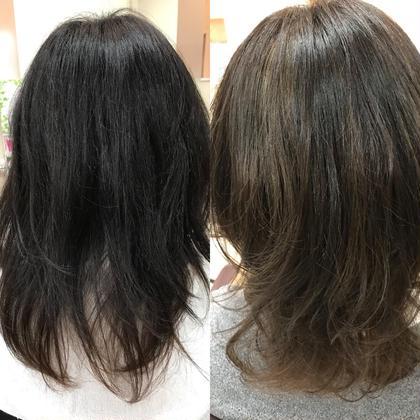 ミディアム ハイライトで明るく! 毛先の色もくすませてベージュぽく。