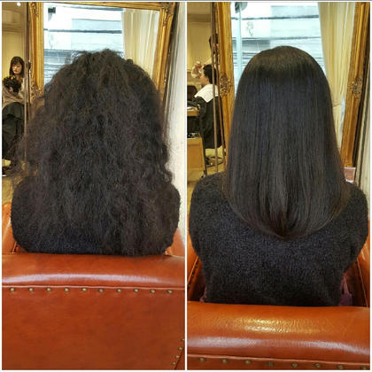 縮毛矯正before&after 湯本天馬のミディアムのヘアスタイル