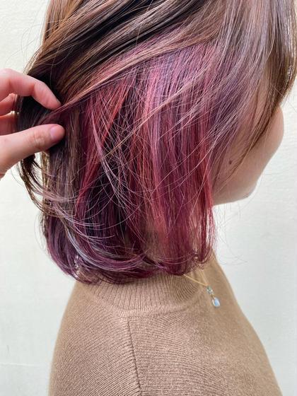 ピンク&紫のインナーカラー💓 ブリーチ有り +¥2.000