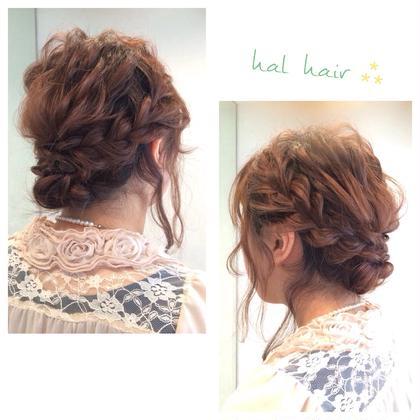 ふわふわウェーブとあみこみでアップ♡ おくれ毛を残してゆるっと可愛く♫+° chouette HairMake&HeadDress所属・サダハルカのスタイル