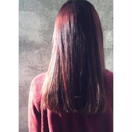 カラー セミロング ミディアム ロング Real salon work ガーネットバイオレットカラー  バイオレットベースにレッドで深みとピンクをブレンドして透明感を。  #NAKAIstyle #ガーネットバイオレットカラー #バイオレットカラー #赤系カラー #モードなカラー #色持ち抜群 #ブリーチなし #お客様カラー