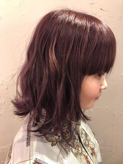 黒髪から1回ブリーチからの紫ピンクを注入  1番好きな色味 pizzicato所属・山本里菜のスタイル