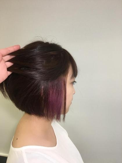 ✂︎前下がりボブ✂︎ ✂︎パープルインナーカラー✂︎  hair&makeup miq所属・今村圭佑のスタイル