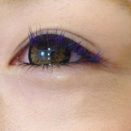 ブルー、パープル、グリーンのカラーMIX トータル160本です 孔雀のような睫毛('ω')✴︎ Regina所属・かじたしずかのフォト