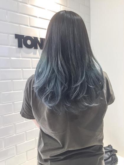 カラー セミロング モードブルー