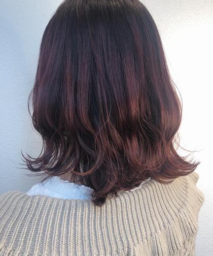 cherry red 🌼 ・ 深めの色味だから、 派手すぎない暖色color🍒♡  ※ベースの色味によって明るさは変わります✔️