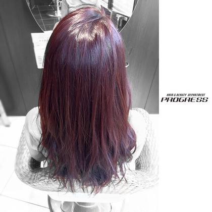マゼンタブラウン。 艶のある暖色系は髪を綺麗に魅せる。 PROGRESS狭山店所属・高野恭佑のスタイル