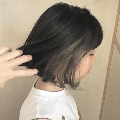 カラー ヘアアレンジ ミディアム 本日来てくださったお客様♡  ブリーチをして中をグレー♡ 可愛すぎます٩(ˊᗜˋ*)و  暗髪&グレー  ちょーオススメ!!  #グレー  #暗髪  #イルミナカラー