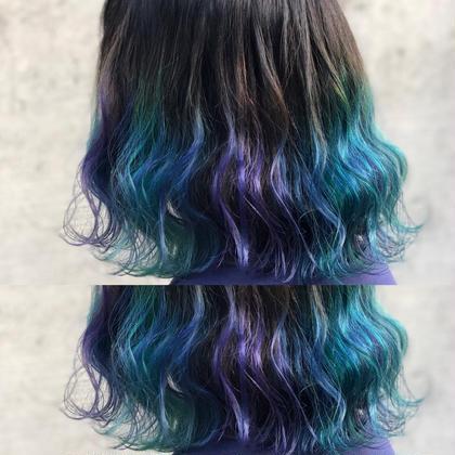 その他 カラー ミディアム 毛先ブリーチ後、青と緑のマニキュアでユニコーンカラーにしました🦄