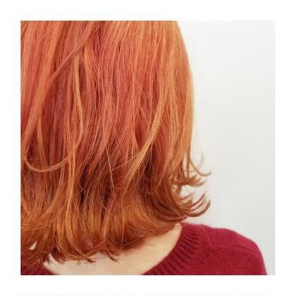 ブリーチonオレンジピンク🍊💗 ブリーチ1回 ストレートアイロン外ハネ仕上げ🐥 knot hair&products所属・佐藤晶帆のスタイル