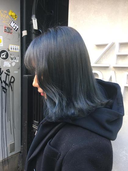 カラー ヘアアレンジ ミディアム メンズ 暗髪だけど透明感のあるカラー ブリーチ1回以上必須です♥︎
